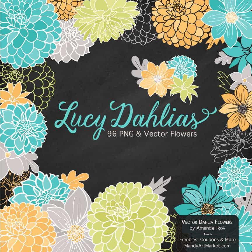 Land & Sea Dahlia Clipart