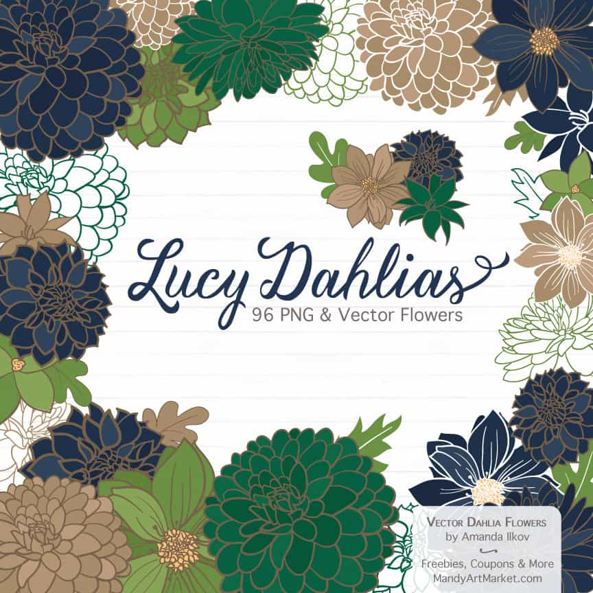 Navy & Emerald Dahlia Clipart
