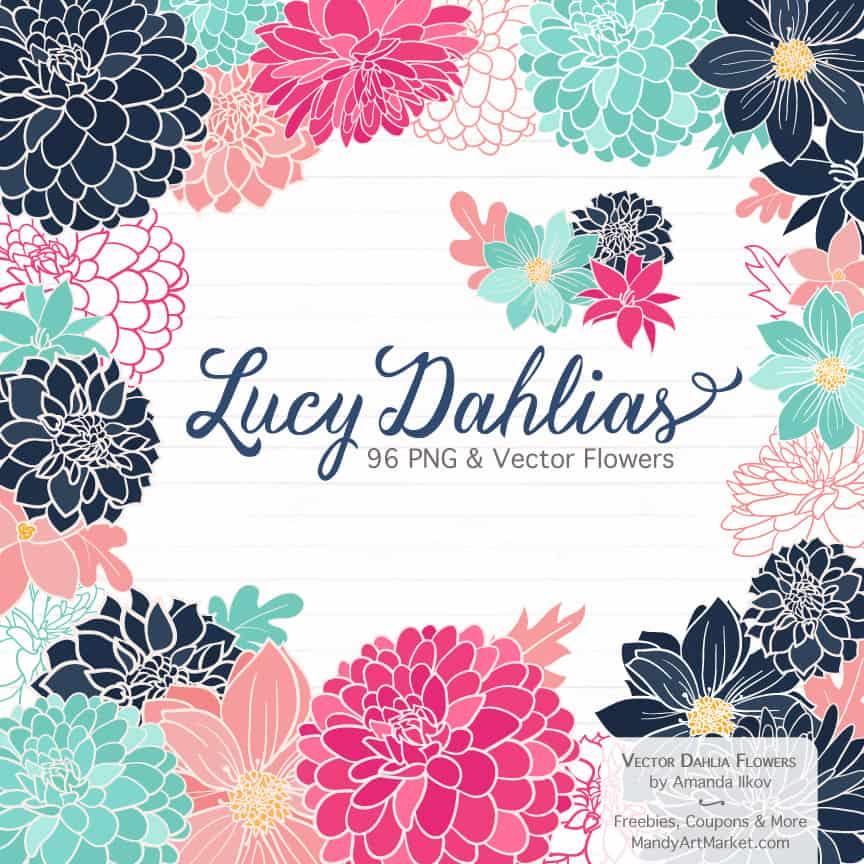 Navy & Hot Pink Dahlia Clipart