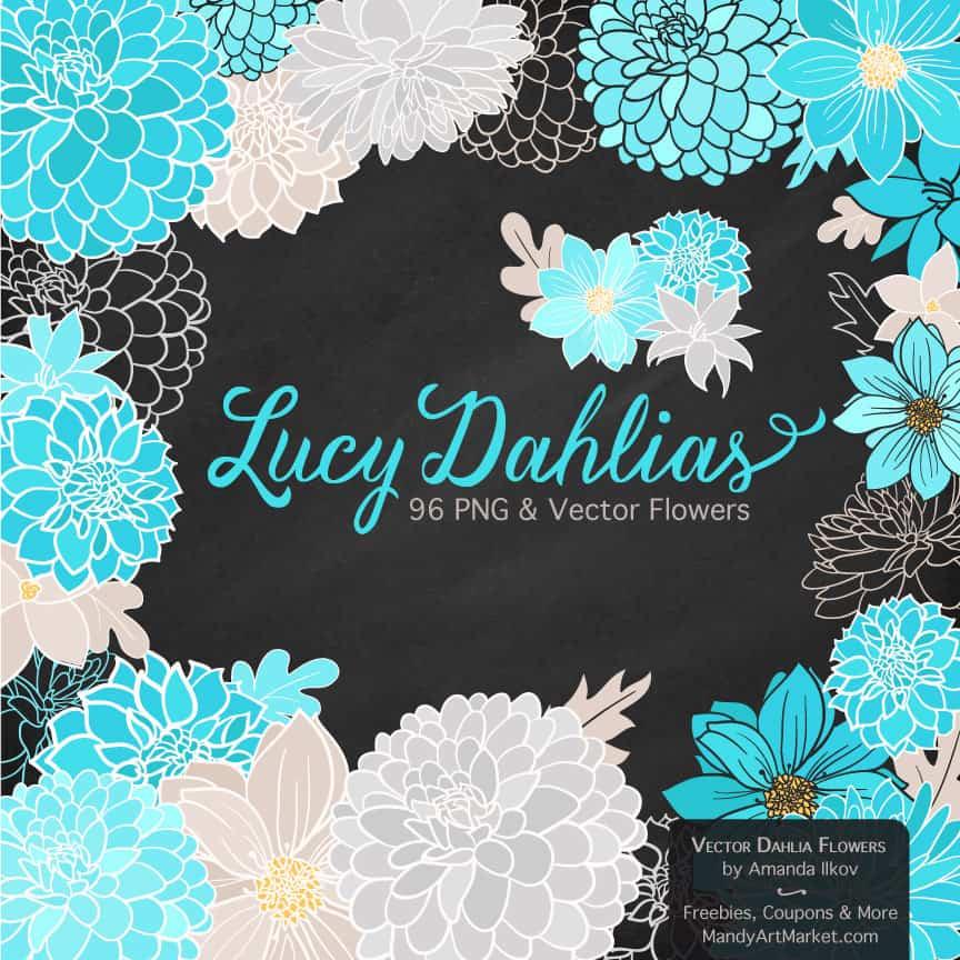 Tropical Blue Dahlia Clipart