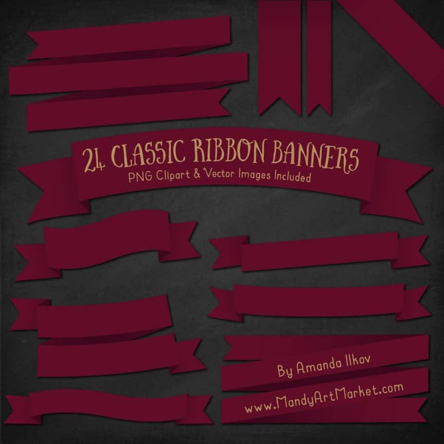 Merlot Ribbon Banner Clipart