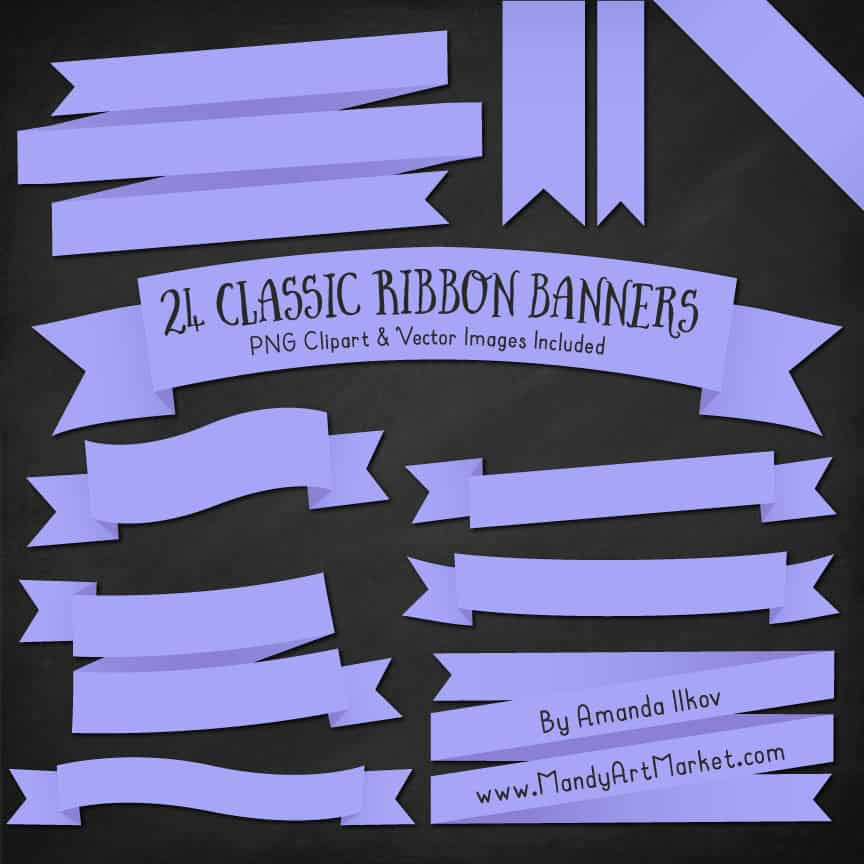 Periwinkle Ribbon Banner Clipart