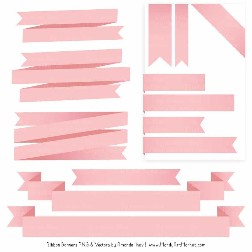 Soft Pink Ribbon Banner Clipart