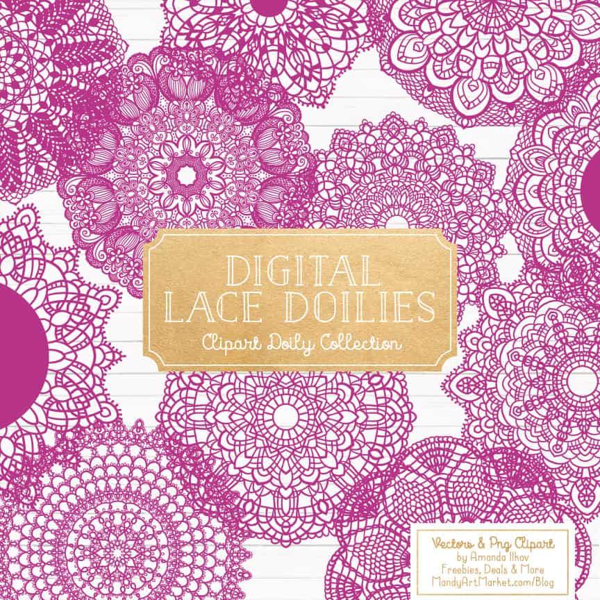 Fuchsia Lace Doily Vector Clipart