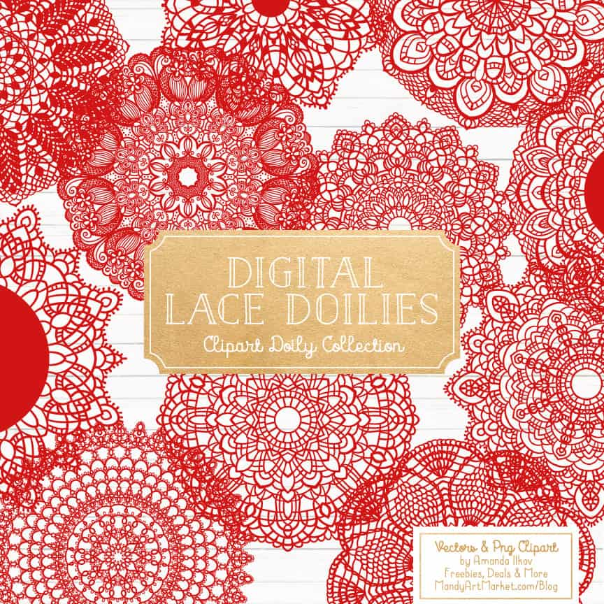 Red Lace Doily Vector Clipart