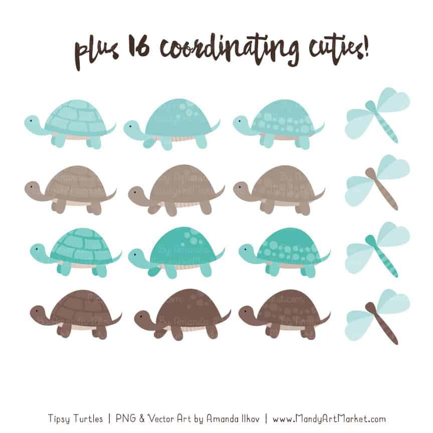 Aqua & Brown Turtle Stack Clipart Vectors