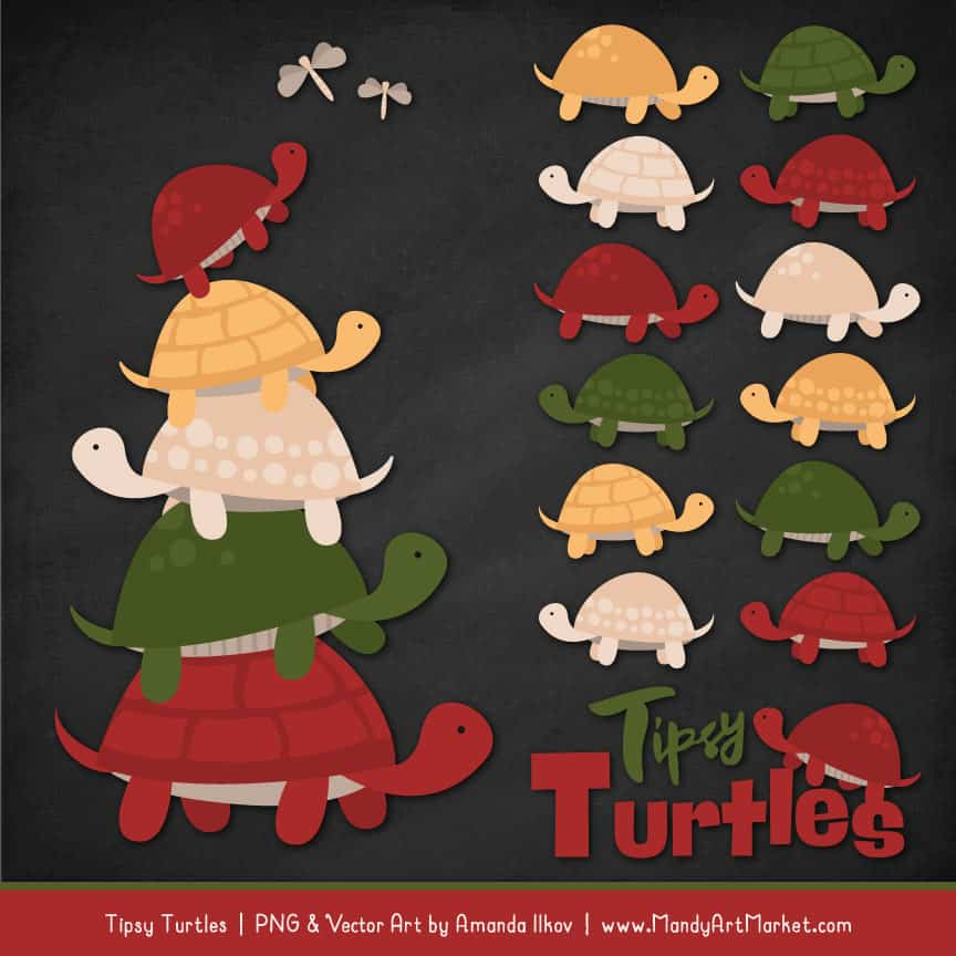 Christmas Turtle Stack Clipart Vectors