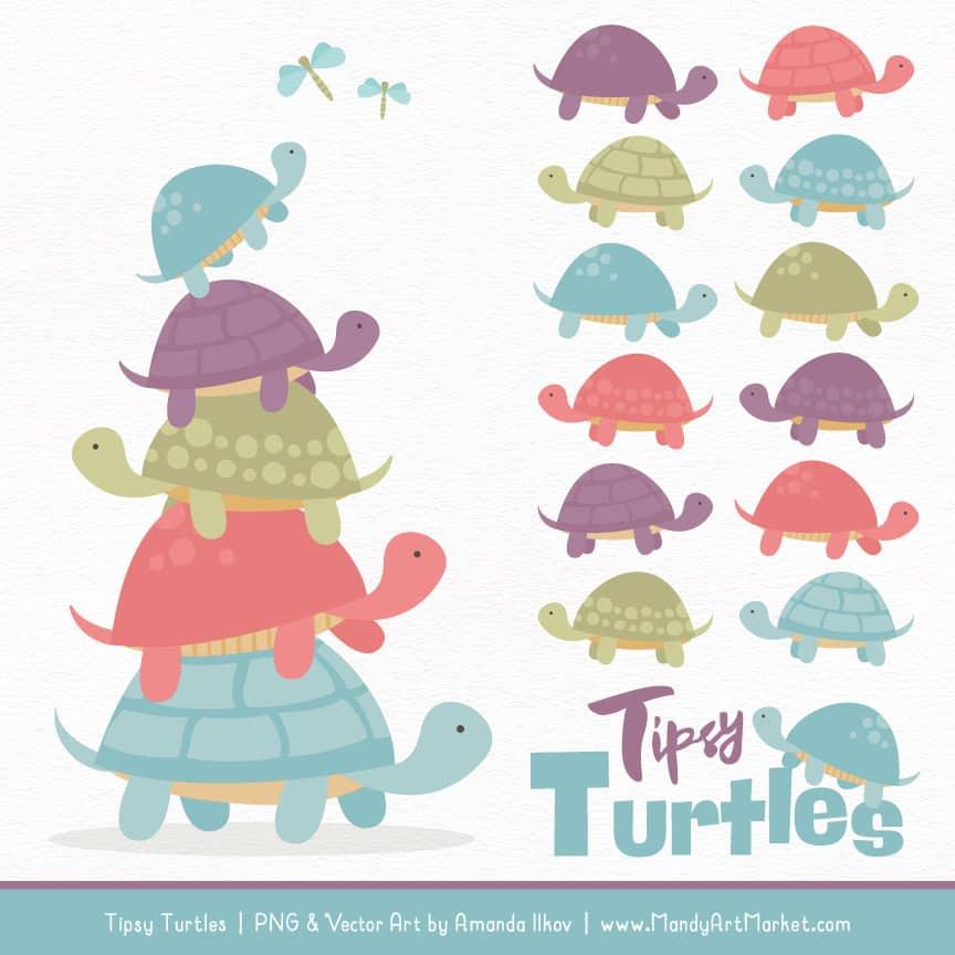 Vintage Turtle Stack Clipart Vectors