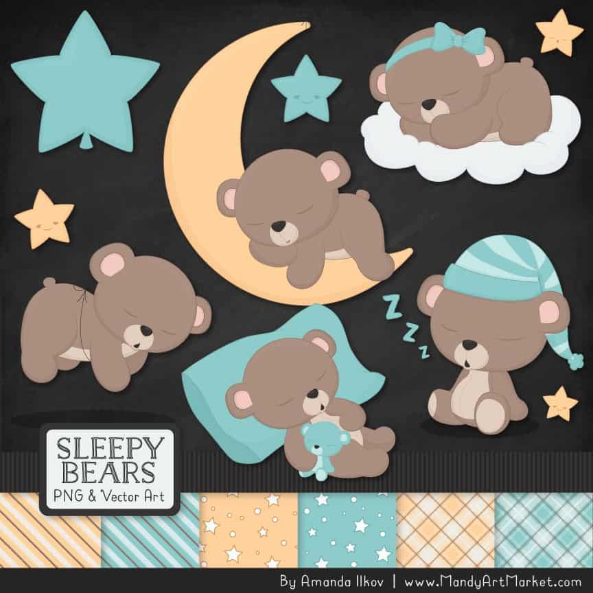 Aqua Sleepy Bears Clipart & Paper Vectors