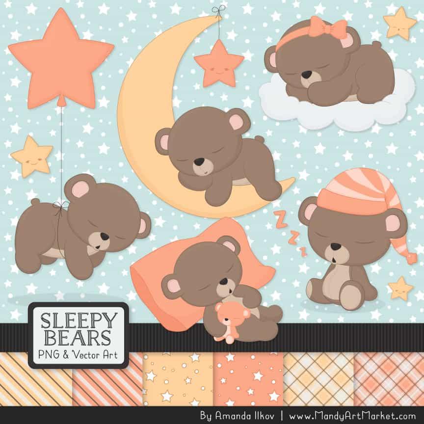Peach Sleepy Bears Clipart & Paper Vectors