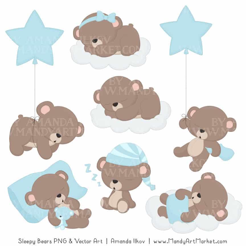 Soft Blue Sleepy Bears Clipart & Paper Vectors