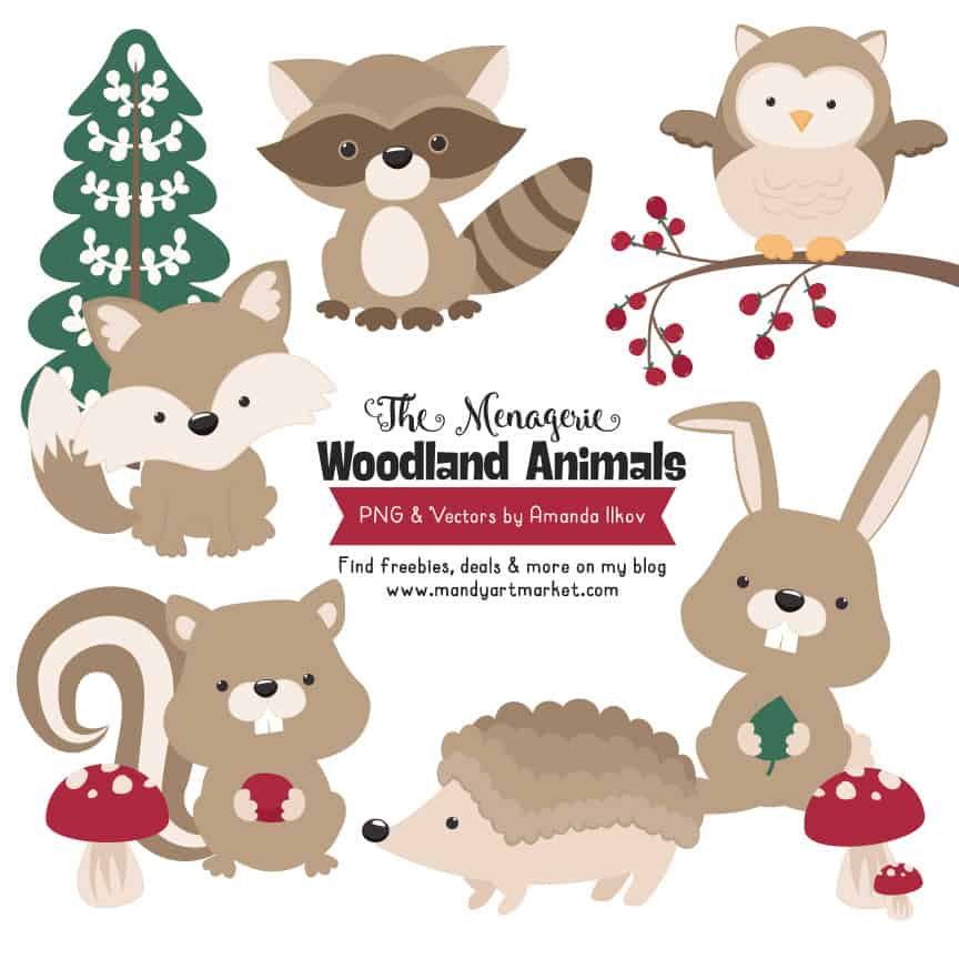 Champagne Woodland Animals Clipart