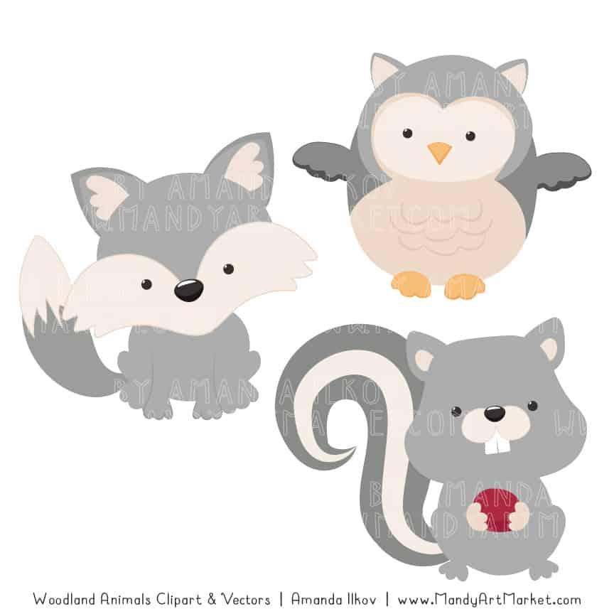 Grey Woodland Animals Clipart