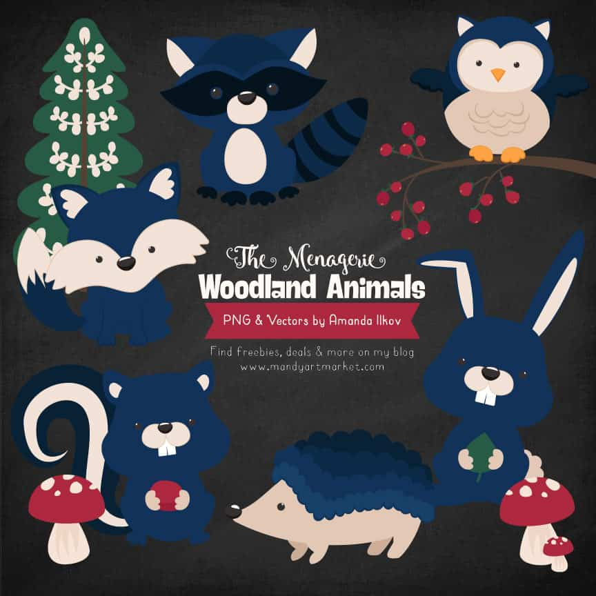 Navy Woodland Animals Clipart