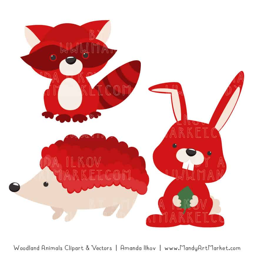 Red Woodland Animals Clipart