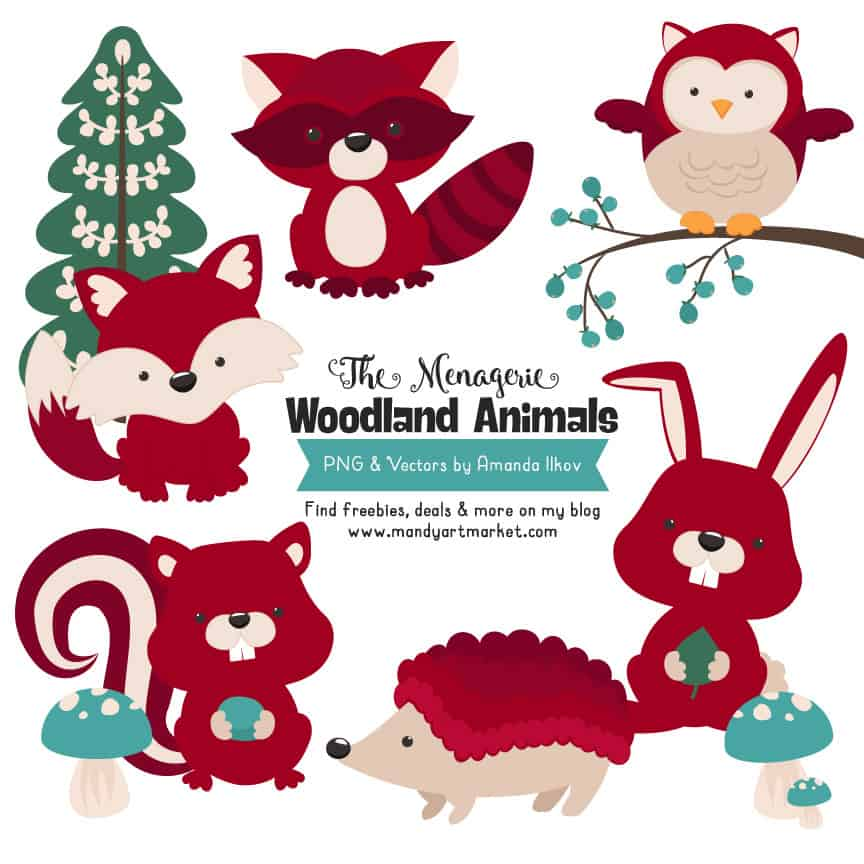 Ruby Woodland Animals Clipart