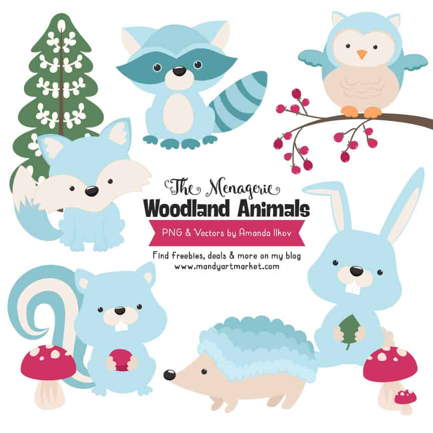 Soft Blue Woodland Animals Clipart