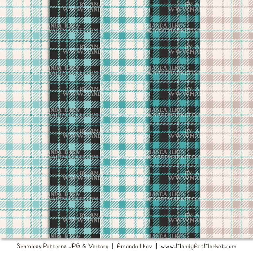 Aqua Cozy Plaid Patterns