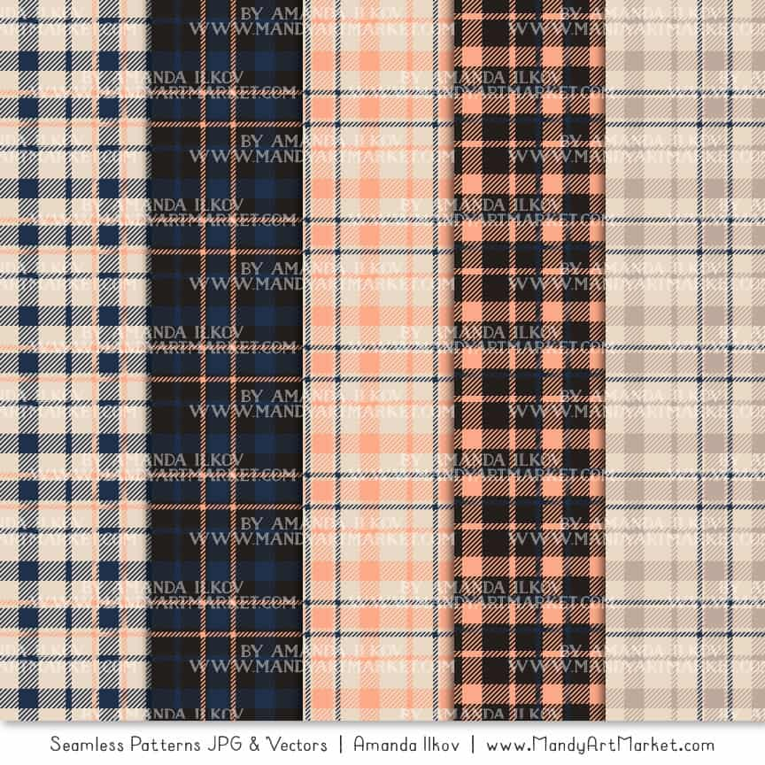Navy & Peach Cozy Plaid Patterns