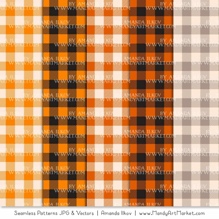 Orange Cozy Plaid Patterns