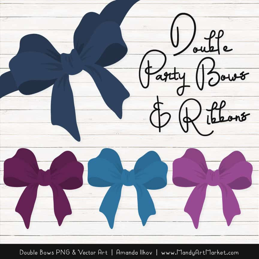 Free Navy & Plum Party Bow Clipart