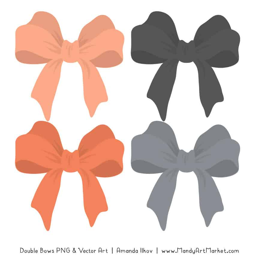 Free Peach & Pewter Party Bow Clipart