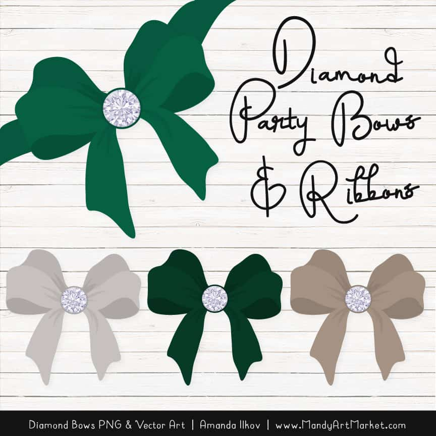 Emerald Diamond Bow Clipart