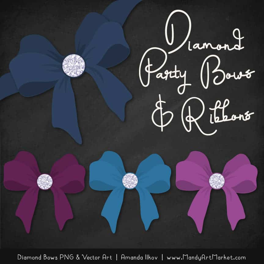 Navy & Plum Diamond Bow Clipart