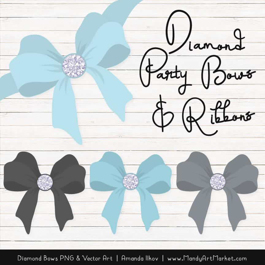 Soft Blue & Pewter Diamond Bow Clipart