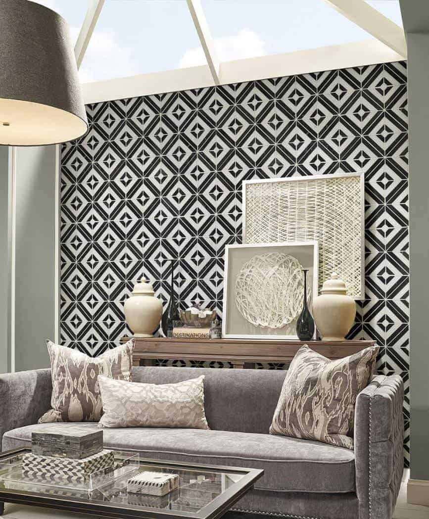 black and white patterned wall design