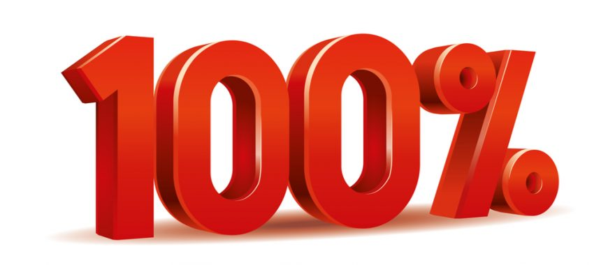 Large Bold 100% sign in red