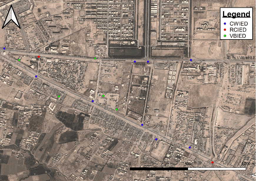 Map with common types of IEDs. They are command-wire improvised explosive device (CWIED), radio controlled improvised explosive device (RCIED), and vehicle-borne improvised explosive device (VBIED). Map: Mike Roberts.