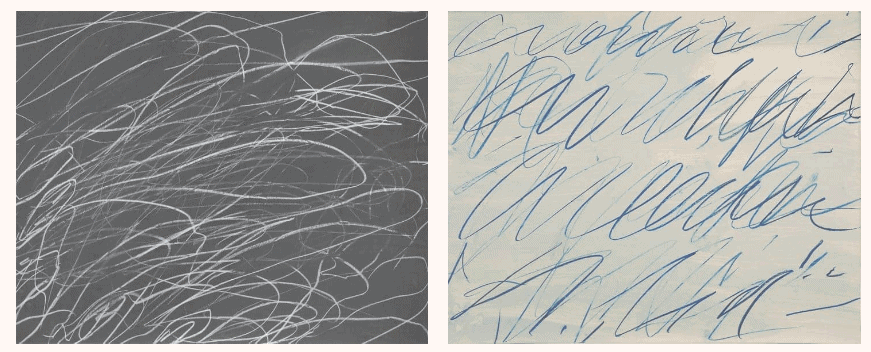 Cy Twombly, Untitled, 1969 and Untitled, 1970. © Cy Twombly Foundation. Courtesy Gagosian
