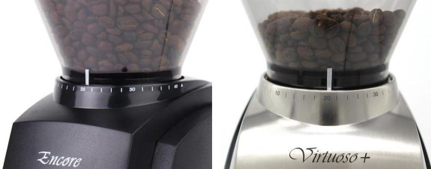 Split image with a closeup of the Baratza Encore on the left and the Baratza Virtuoso+ on the right
