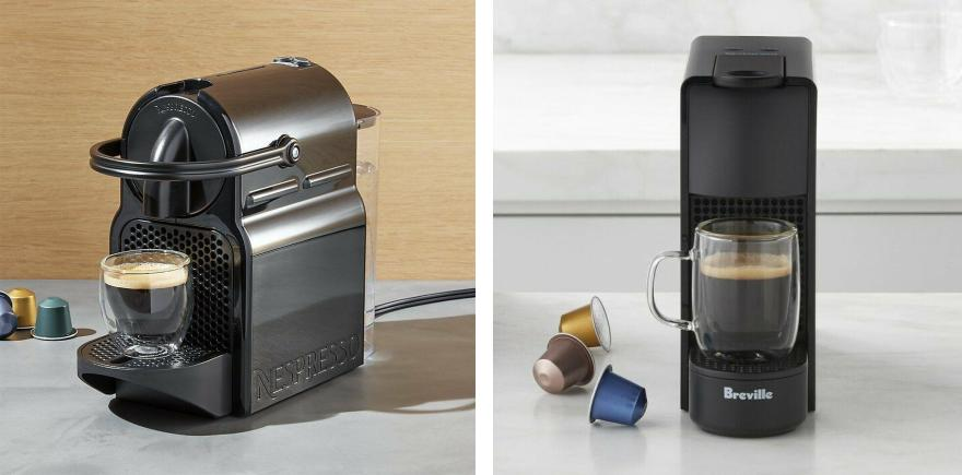 Split image of Nespresso Inissia and Essenza Mini on the counter