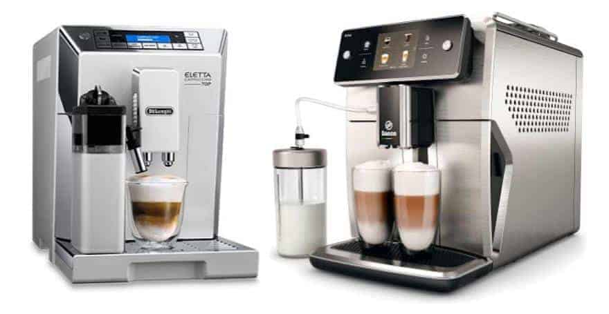 De'Longhi Eletta home espresso machine next to the Saeco Xelsis