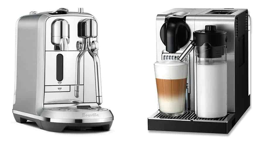 Nespresso Creatista Plus on the left and Lattissima Pro on the right