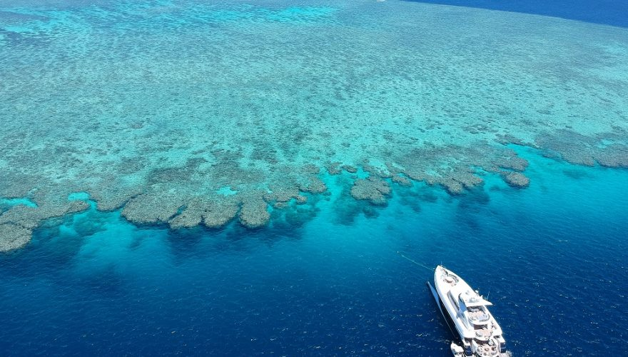 Superyacht anchored at the Great Barrier Reef