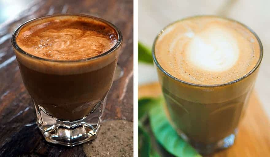 A cortado on the left and a latte on the right