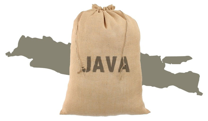 A sack of coffee beans stamped with the word Java