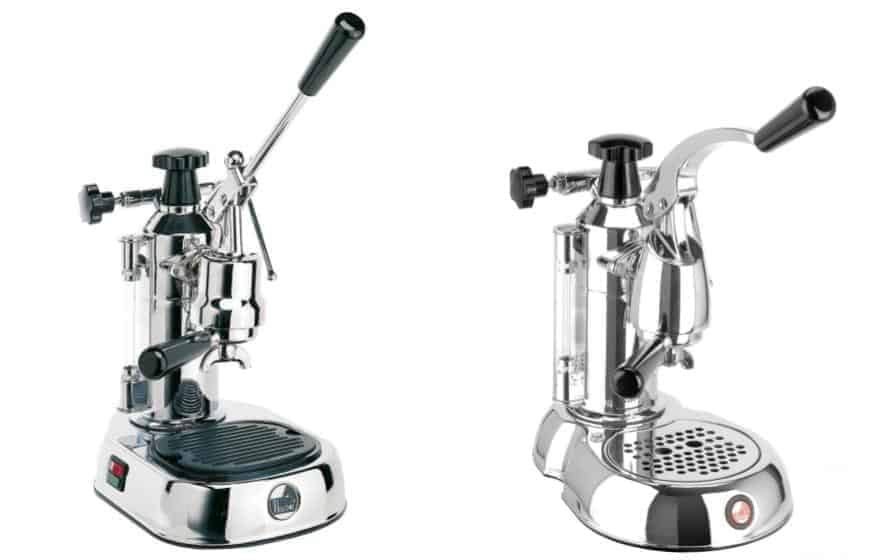Split image with La Pavoni Europiccola on left and Stradivari on right