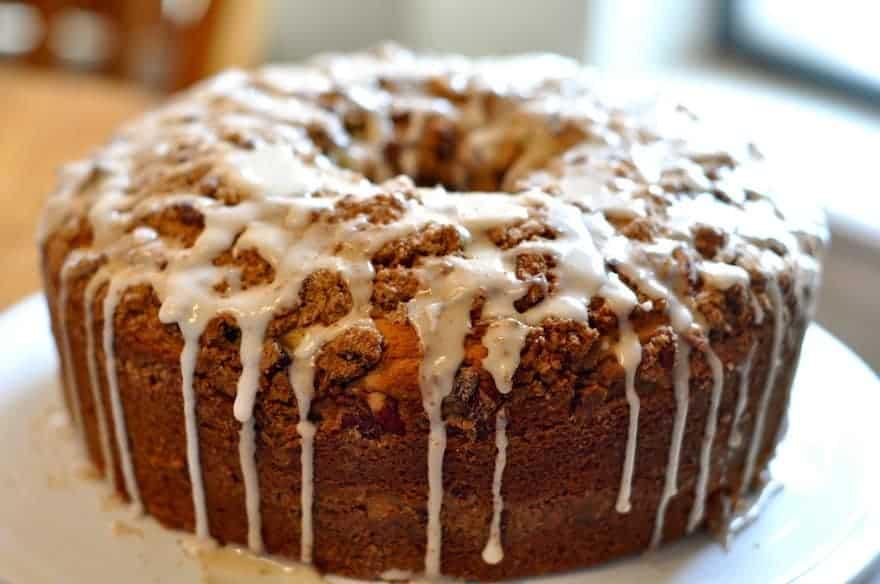 Sour cream coffee cake with glaze on top