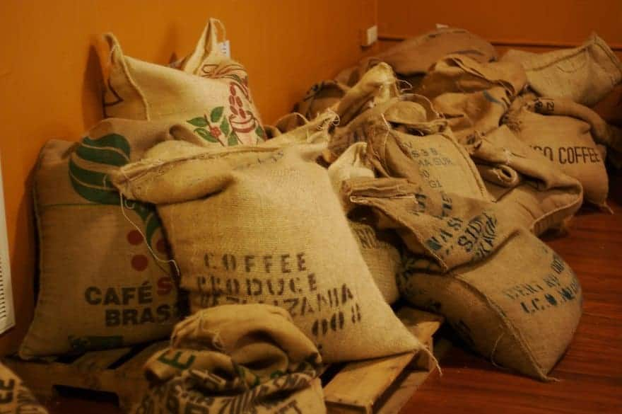 Sacks of coffee beans from different countries