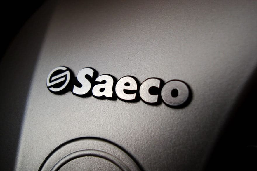 Saeco branding on an espresso machine