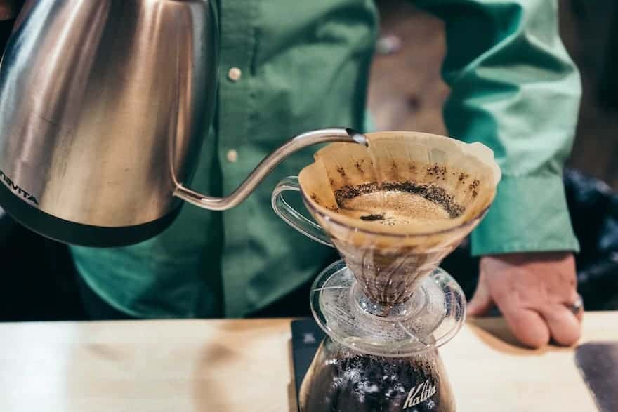 Making pour-over coffee with an electric gooseneck kettle