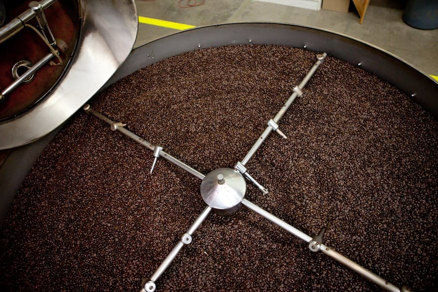 Coffee beans cooling at the Saltspring roasting facility