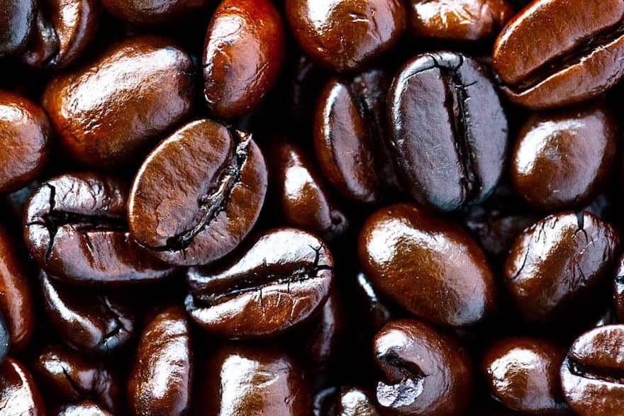Shiny French roast coffee beans