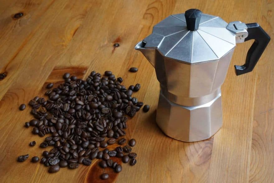 Moka pot coffee maker on a stovetop