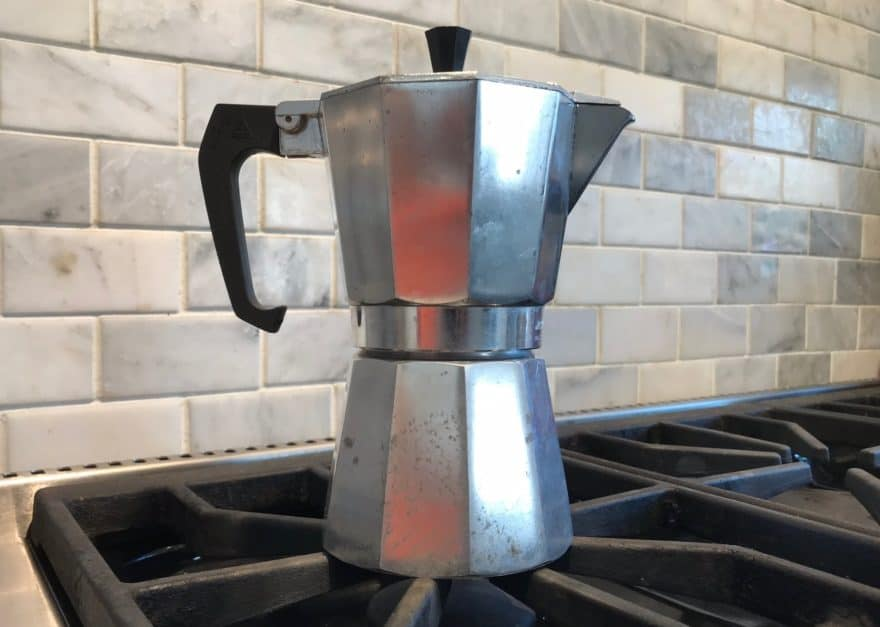 The moka pot's classic design looks great on any stovetop.
