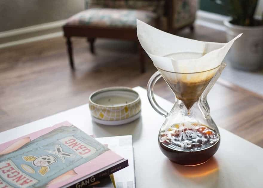 chemex brewing coffee on a table